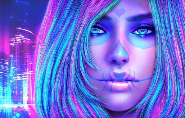 Картинка взгляд, девушка, лицо, красота, арт, make up, sugar skull, dia delos muertos