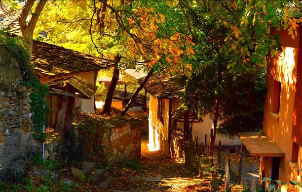 Картинка Дома, Осень, Деревня, Autumn, Village, Houses