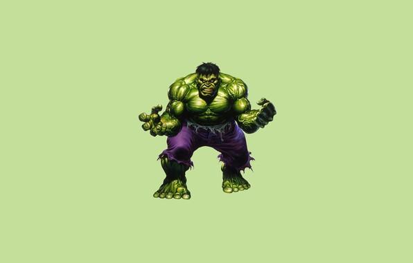 Картинка монстр, минимализм, зелёный, Халк, Hulk, комикс, марвел, Marvel Comics