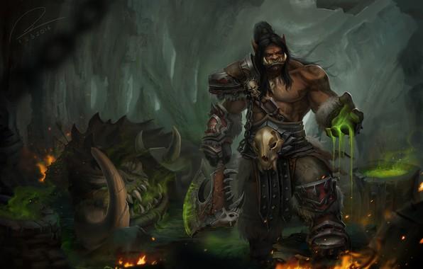 Картинка игра, фэнтези, арт, World of Warcraft, Орк, Grommash Hellscream, Tien Can