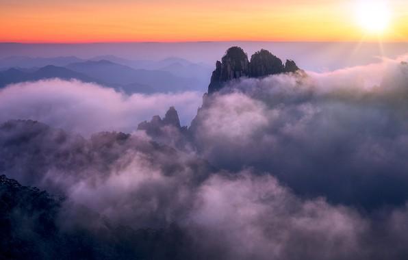 Картинка облака, закат, горы, Китай, Аньхой, Хуаншань
