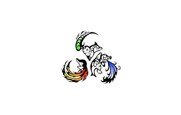 Картинка трава, вода, огонь, стихии, flame, grass, water, покемон, pokemon, чикорита, синдаквил, Cyndaquil, тотодайл, Totodile, Chikorita