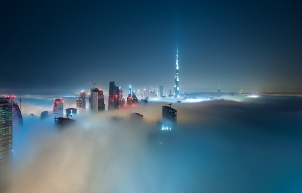 Картинка city, lights, Dubai, night, skyscraper, clouds, architecture, building, Burj Khalifa, cityscape, UAE, mist, United Arab …