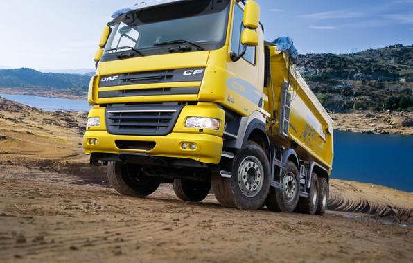 Картинка жёлтый, грузовик, кузов, грунтовка, DAF, ДАФ, самосвал, Euro5, 8х4, DAF CF85.460