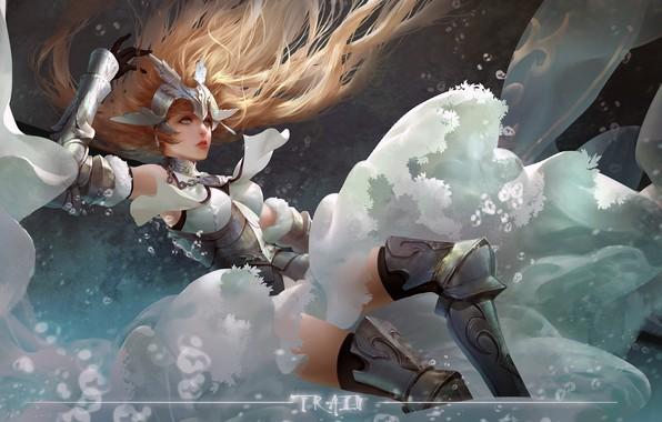 Картинка girl, fantasy, armor, long hair, anime, art, blue eyes, blonde, digital art, artwork, warrior, fantasy ...