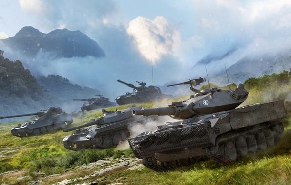 Картинка Небо, Облака, Горы, Трава, Танки, WoT, World of Tanks, Мир Танков, Wargaming Net, Легкие Танки, ...