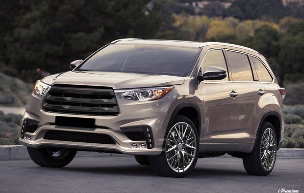 Картинка серый, тюнинг, Toyota, диски, спереди, бампер, cars, tuning, Highlander, Toyota Highlander, i-Premium