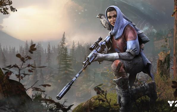 Картинка девушка, оружие, игра, Destiny 2