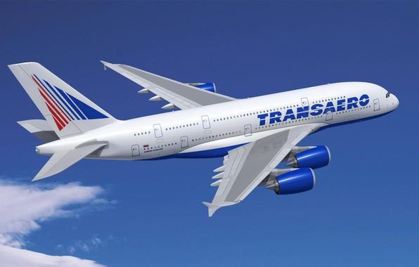 Фото обои Аэробус, А-380, Полёт, Небо, Самолёт, 380, Трансаэро