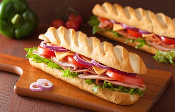 Картинка сыр, бутерброд, гамбургер, колбаса, булка, салат