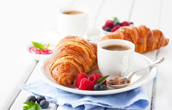Картинка ягоды, малина, кофе, завтрак, ложка, чашка, выпечка, круассан