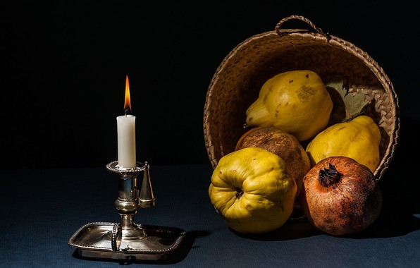 Картинка свеча, плоды, натюрморт