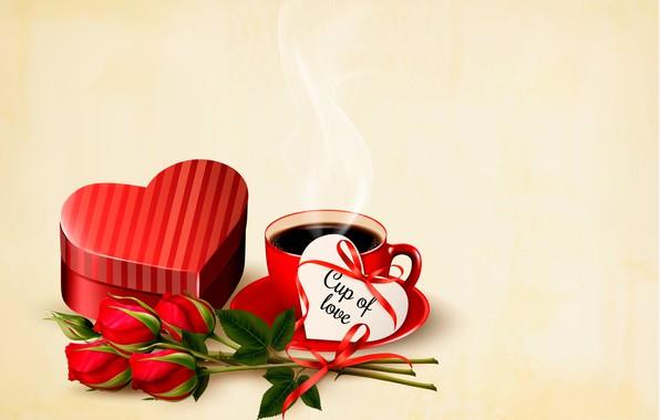 Картинка цветы, праздник, розы, сердечки, день святого Валентина