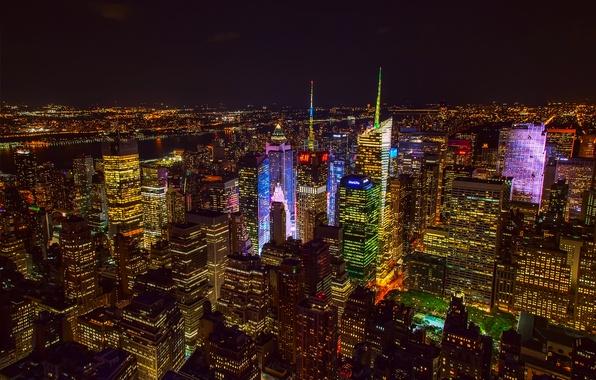 Картинка ночь, город, огни, США, Нью Йорк