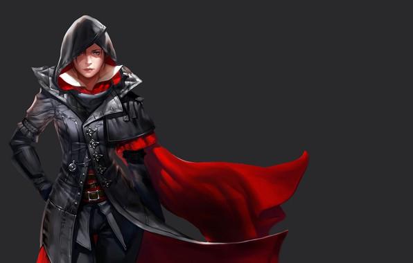Картинка girl, fantasy, game, green eyes, Assassin's Creed, face, assassin, digital art, artwork, fantasy art, freckles, ...