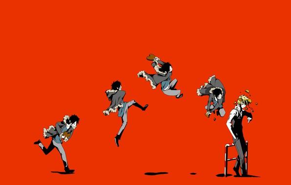 Картинка обломки, прыжок, удар, art, хулиган, Heiwajima Shizuo, Durarara!!, адская ухмылка, Orihara Izaya, садист, Pikushi Buaidhy