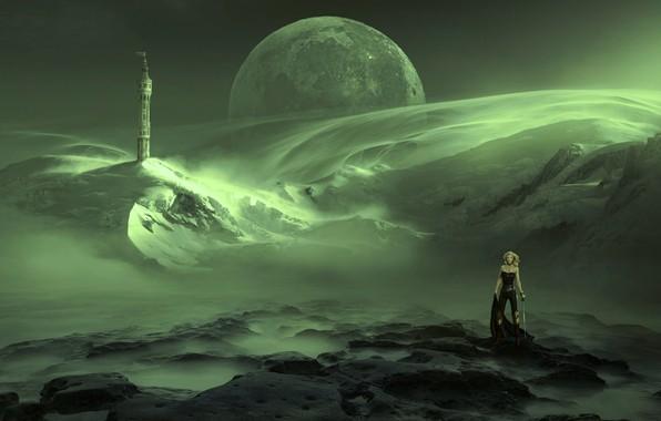Картинка небо, девушка, космос, снег, горы, пространство, зеленый, туман, камни, фантастика, луна, планета, башня, меч, воин, …