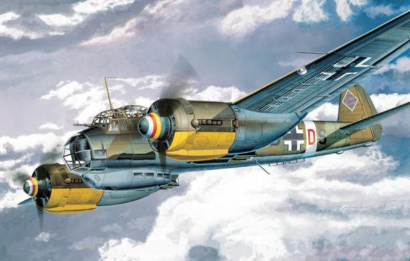 Картинка Германия, арт, бомбардировщик, самолёт, многоцелевой, Junkers, люфтваффе, Вторая Мировая война, Ju 88A-4