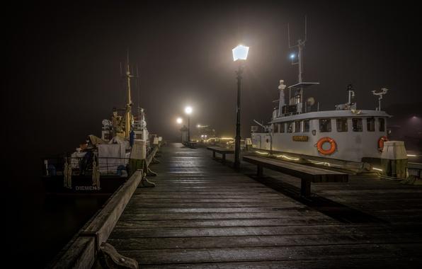 Картинка ночь, огни, корабль, причал, Нидерланды, Хорн
