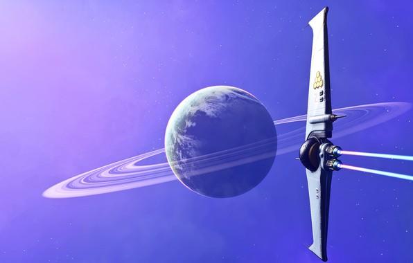 Картинка future, space, fantasy, science fiction, stars, planet, digital art, artwork, fantasy art, rings, Spaceship, futuristic, …