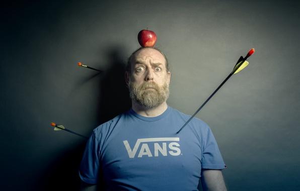 Картинка человек, яблоко, стрелы, мишень