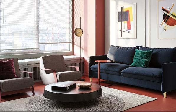 Картинка стол, комната, диван, ковер, картина, кресло, окно, подушка, жалюзи