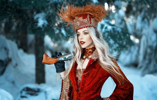 Картинка girl, gun, long hair, dress, weapon, hat, style, photo, photographer, blue eyes, winter, snow, model, …