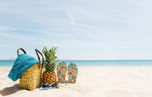 Картинка песок, море, пляж, лето, отдых, очки, summer, сумка, ананас, beach, каникулы, sea, sand, pineapple, сланцы, ...