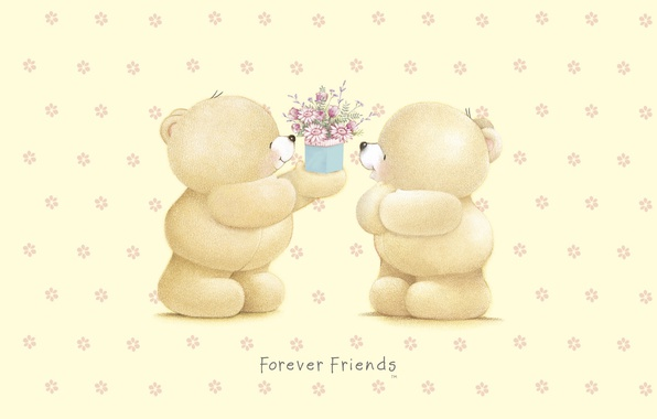 Картинка подарок, арт, мишка, цветочки, детская, Forever Friends Deckchair bear, Teddy Bears