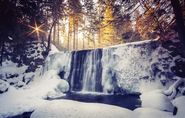 Картинка зима, лес, свет, река, водопад, утро