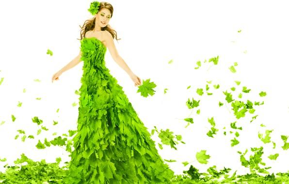 Картинка зелень, листья, девушка, листва, макияж, платье, прическа, наряд, белый фон, шатенка, красивая