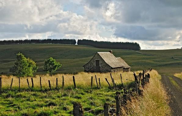 Картинка дорога, поле, природа, дом, Франция, Aubrac Laguiole