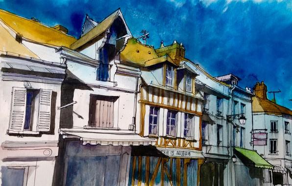 Картинка город, рисунок, Франция, дома, акварель, Паси-сюр-Эр