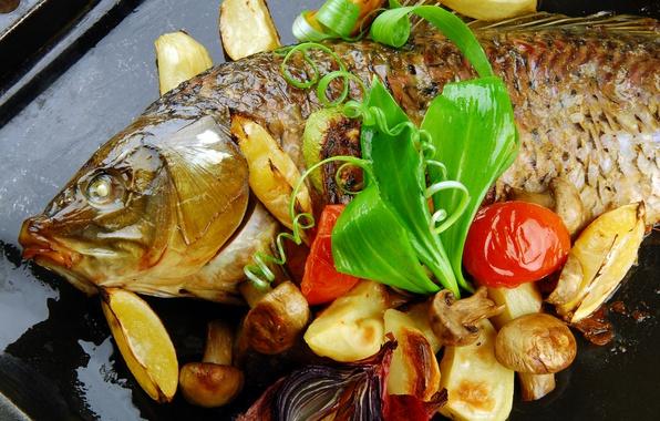 Картинка грибы, рыба, овощи, картофель
