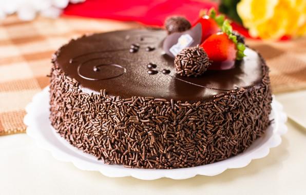 Картинка торт, украшение, крем, шоколадный, глазурь