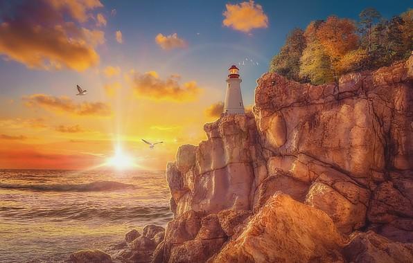 Картинка камни, скалы, берег, маяк, чайки, утро, восход солнца, лучи света, art, розовые облака, на море, …