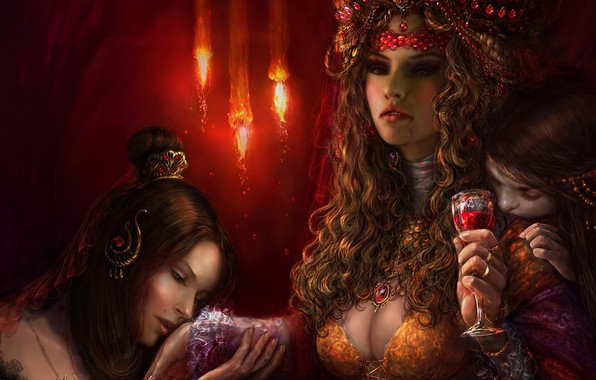 Картинка девушки, кровь, бокал, арт, вампиры