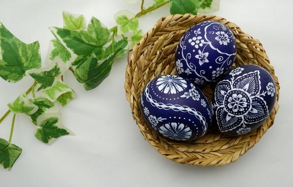 Картинка листья, веточка, корзина, яйца, весна, пасха, Праздник