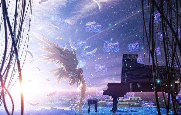 Картинка небо, девушка, звезды, город, провода, дома, крылья, аниме, перья, рояль, angel beats!, ангельские ритмы, tachibana …