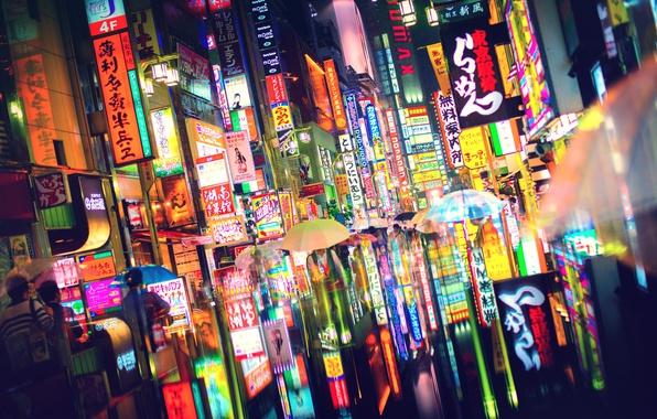 Картинка свет, город, огни, люди, Япония, Токио, зонты