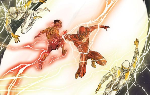 Картинка молнии, злодей, race, комикс, battle, the flash, DC Comics, Godspeed, флэш, спидстер, Speedforce, kid flash