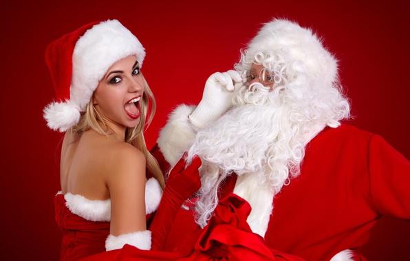 Картинка фон, праздник, Снегурочка, Санта Клаус
