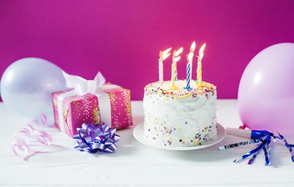 Картинка праздник, подарок, шары, свечи, торт