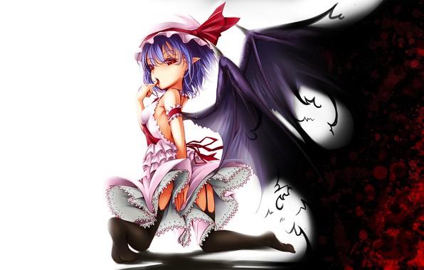 Картинка красные глаза, touhou, art, вампирша, Remilia Scarlet, черная магия, крылья летучей мыши, Onigiri