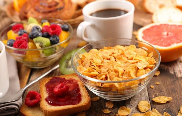 Картинка ягоды, кофе, завтрак, фрукты, джем, хлопья, тосты