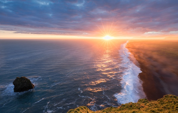 Картинка море, пляж, солнце, берег, Исландия