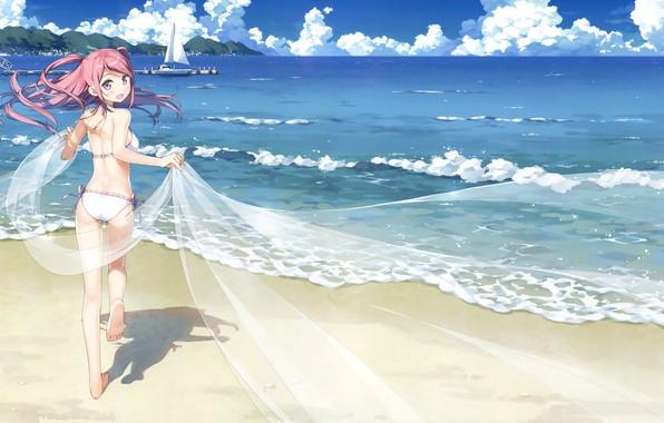 Картинка море, пляж, небо, девушка, облака, радость, пейзаж, горы, аниме, пирс, kantoku, kurumi