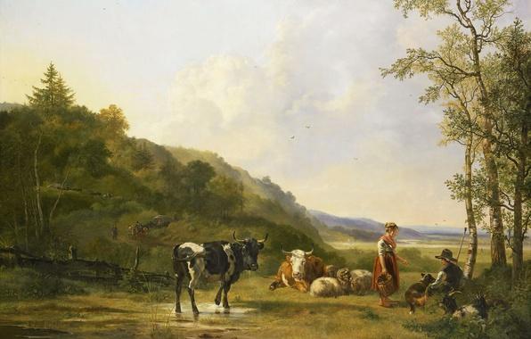 Картинка животные, масло, картина, холст, Питер Герардус ван Ос, Пейзаж с Пастухами и Скотом