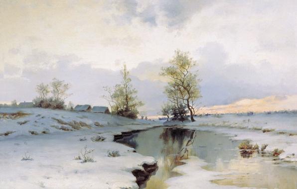 Картинка снег, река, масло, Холст, Иван ЕНДОГУРОВ, Начало весны