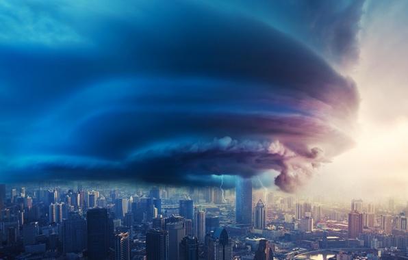 Картинка небо, облака, город, молнии, циклон, туча